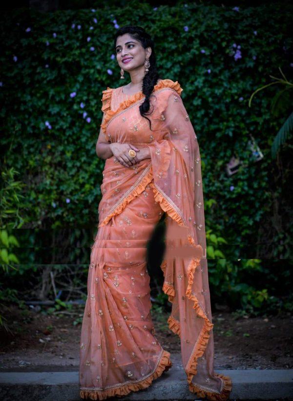 alluring-orange-pure-nylon-heavy-net-with-pearl-raffle-lace-saree