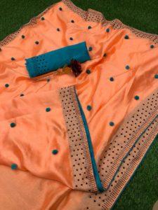 Luminous Orange Color Zoya Silk With Diamond Work Border Classic Saree