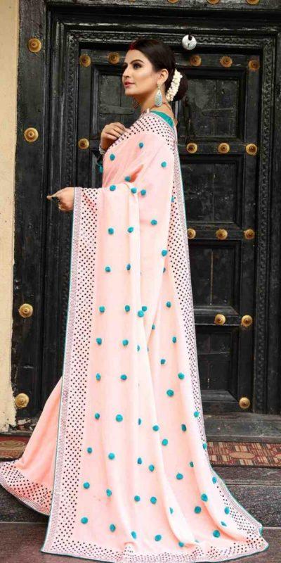 Luminous Peach Color Zoya Silk With Diamond Work Border Classic Saree