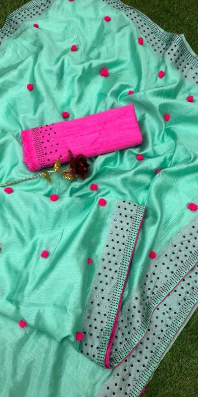 Luminous Sea Green Color Zoya Silk With Diamond Work Border Classic Saree