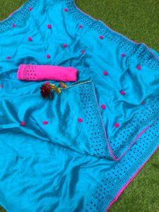 Luminous Skyblue Color Zoya Silk With Diamond Work Border Classic Saree