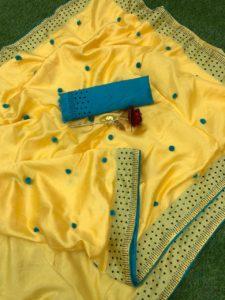Luminous Yellow Color Zoya Silk With Diamond Work Border Classic Saree