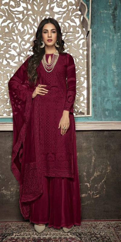 alluring-maroon-color-heavy-fox-georgette-with-embroidery-work-stone-suit