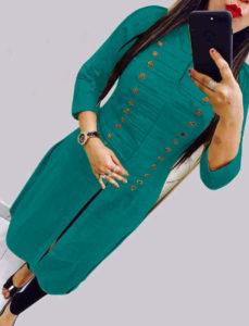 casual-wear-beautiful-green-color-high-slub-cotton-selfi-kurti