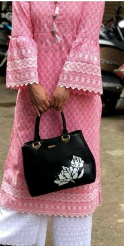 chicken-kari-work-pink-color-cotton-kurti-with-fully-stiched-plazzo