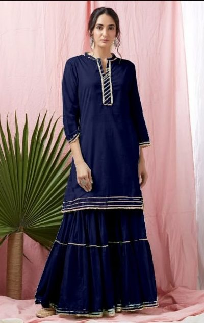 divine-blue-heavy-rayon-with-top-with-gota-patti-lace-sharara-suit