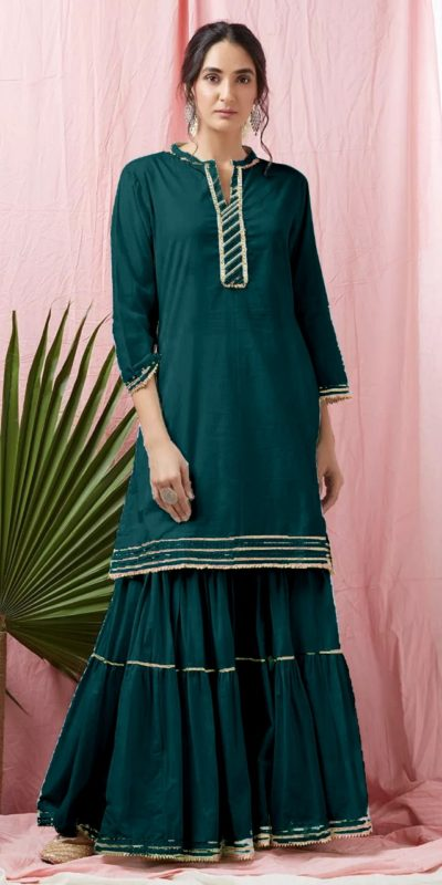divine-peacock-blue-color-heavy-rayon-with-top-with-gota-patti-lace-sharara-suitv