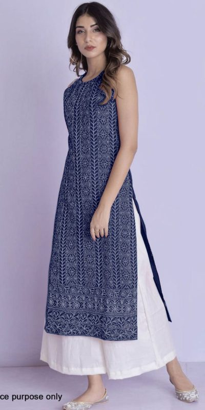 harmonious-navy-blue-color-glace-cotton-with-multi-work-kurti-with-plazzo