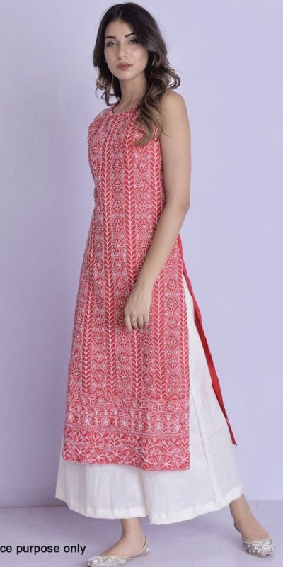 harmonious-red-color-glace-cotton-with-multi-work-kurti-with-plazzo