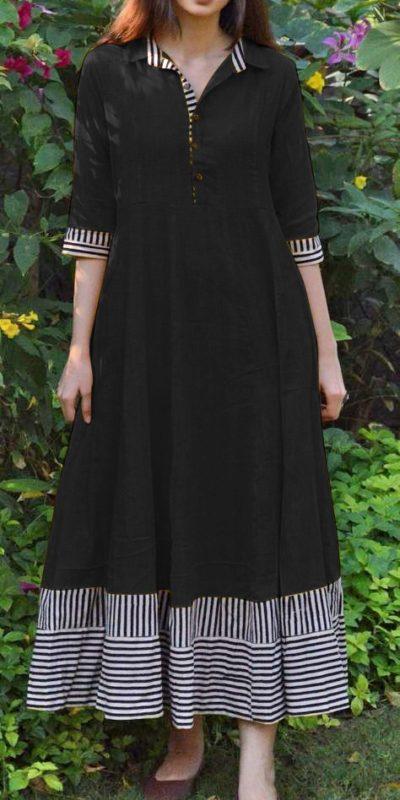 magical-black-color-slubby-cotton-casual-wear-long-flair-print-gown