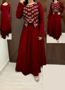 maroon-color-high-low-crop-top-hand-work-in-front-with-stylish-skirt