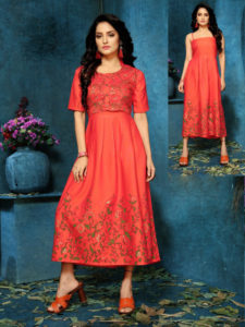 maroon-color-two-tone-high-quality-rayon-with-foil-print-kurti-with-jacket