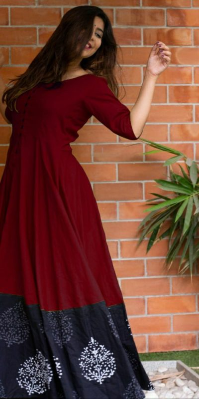 miraculous-maroon-color-heavy-rayon-party-wear-long-flair-gown