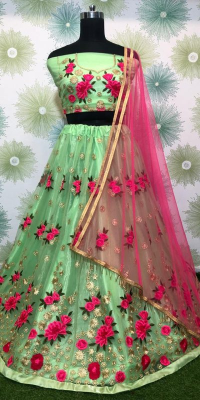 vibrant-parrot-green-color-heavy-net-exclusive-wedding-wear-lehenga-choli