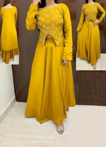 yellow-color-high-low-crop-top-hand-work-in-front-with-stylish-skirt