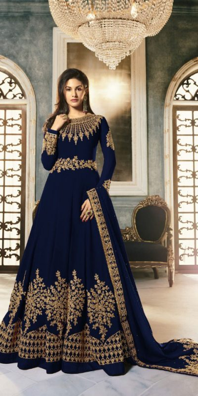 special-blue-color-pure-georgette-with-cording-stone-work-anarkali-suit