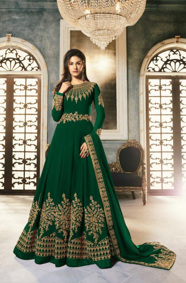 special-green-color-pure-georgette-with-cording-stone-work-anarkali-suit