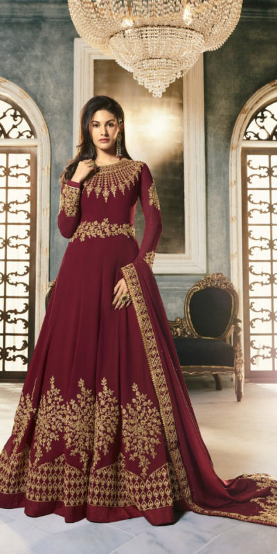 special-maroon-color-pure-georgette-with-cording-stone-work-anarkali-suit