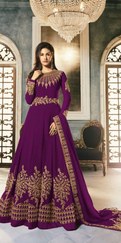 special-purple-color-pure-georgette-with-cording-stone-work-anarkali-suit
