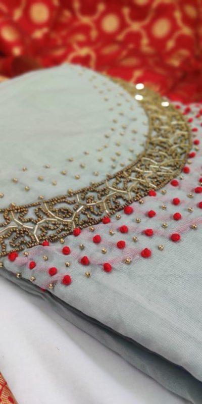yammy-grey-color-pure-modal-silk-salwar-suit-with-colorful-banarasi-dupatta