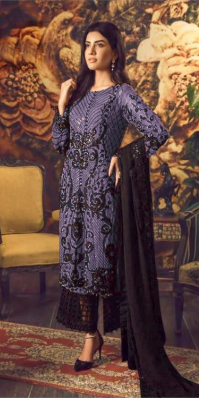 Magical Violent Color Heavy Georgette With Embroidery & Sequence Work Suit