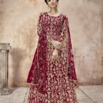 attractive-red-color-heavy-cording-stone-work-wedding-anarkali-suit