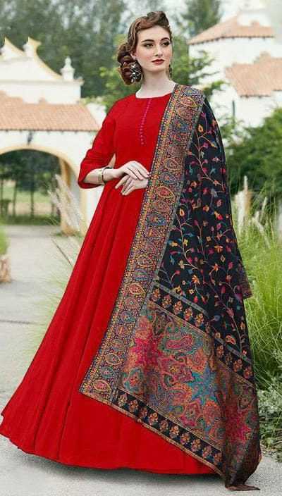 divine-red-color-digital-printed-dupatta-with-heavy-rayon-fabric-gown