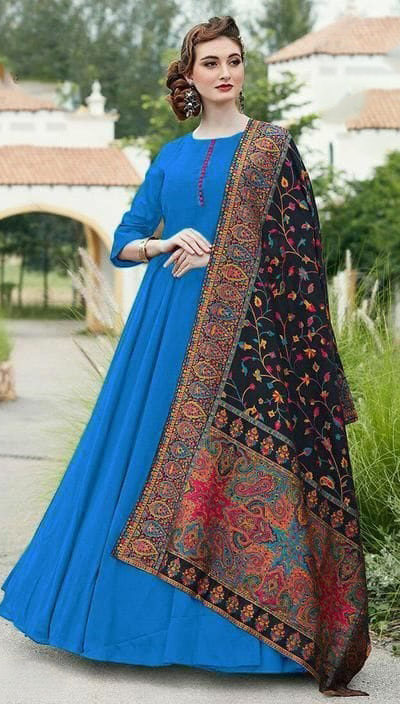 divine-sky-blue-color-digital-printed-dupatta-with-heavy-rayon-fabric-gown