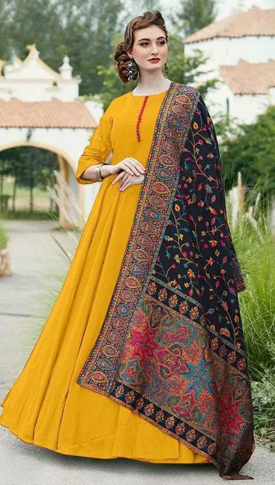 divine-yellow-color-digital-printed-dupatta-with-heavy-rayon-fabric-gown