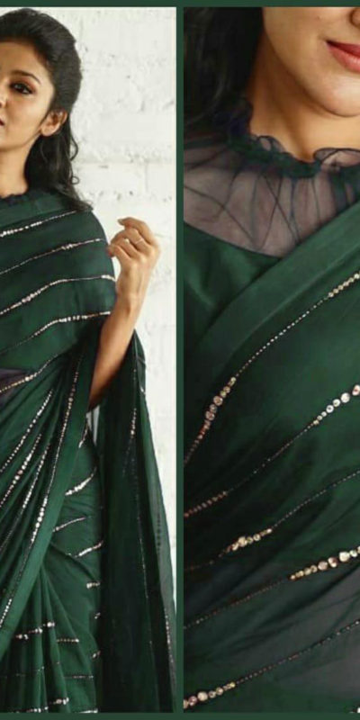 elegant-party-wear-green-color-pure-georgette-sequence-work-fancy-saree