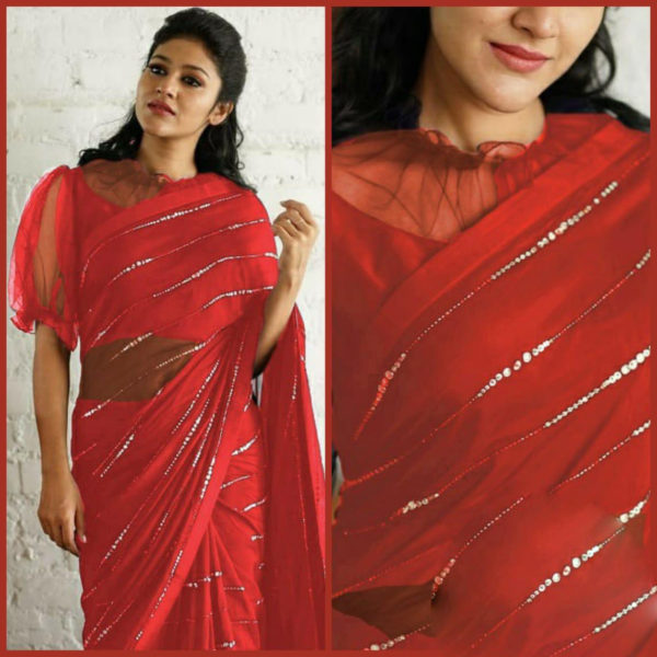 elegant-party-wear-red-color-pure-georgette-sequence-work-fancy-saree