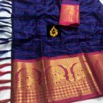 enchanting-blue-color-pure-mercerised-cotton-silk-traditional-wear-classic-saree