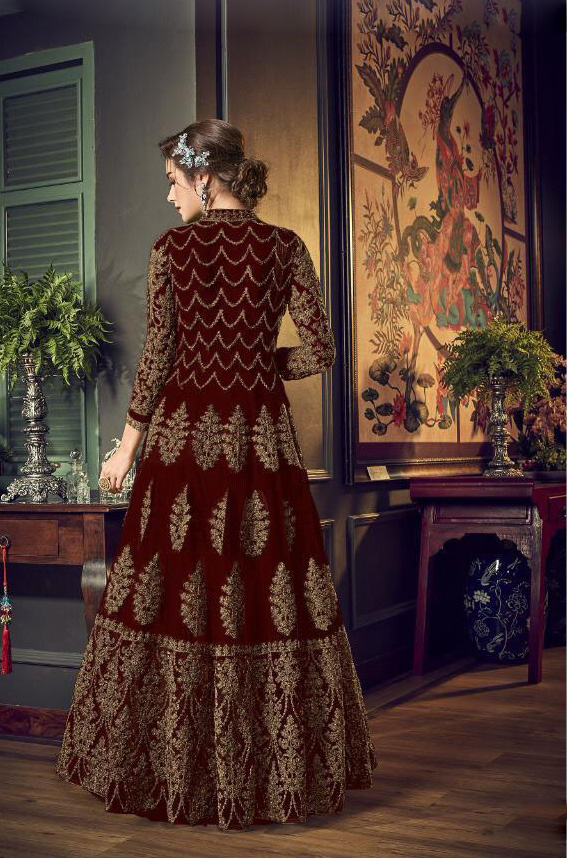 exotic-maroon-color-vaishnavi-net-with-heavy-sequence-premium-quality-anarkali-suit