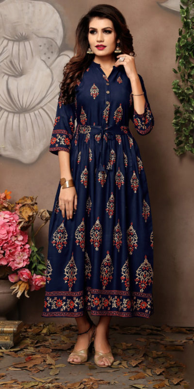extraordinary-party-wear-blue-color-high-quality-reyon-foil-printed-kurti