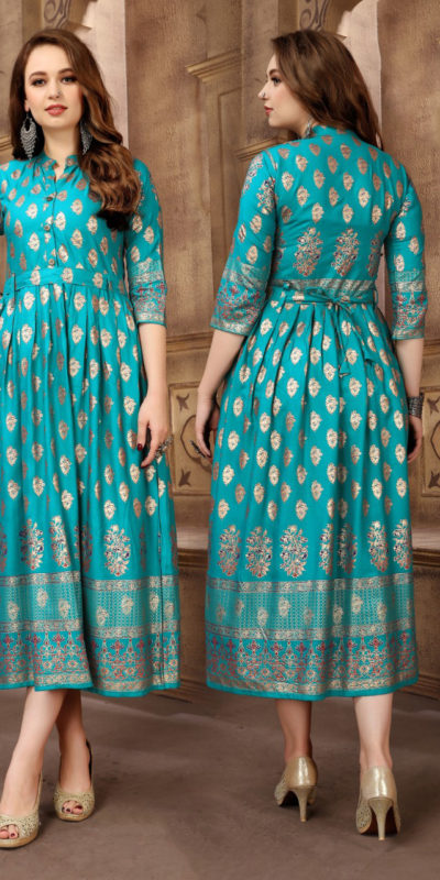 extraordinary-party-wear-sea-green-color-high-quality-reyon-foil-printed-kurti