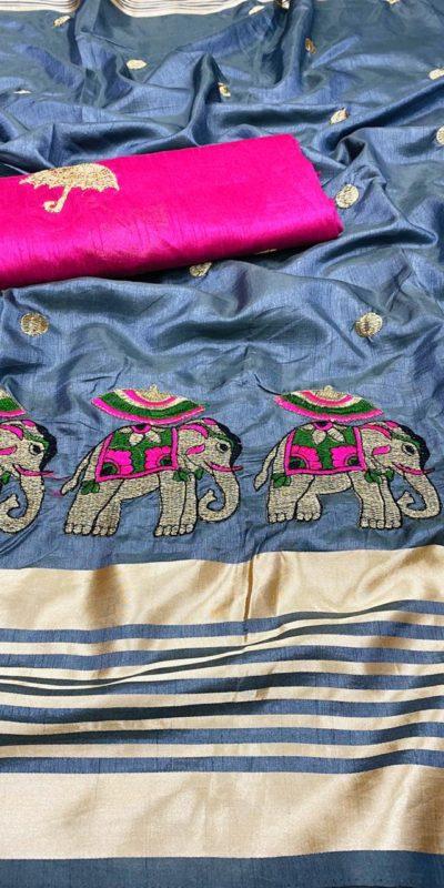 gorgeous-grey-color-bangalori-silk-blouse-with-sana-silk-saree