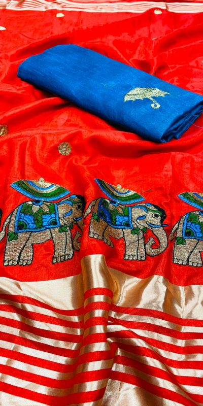 gorgeous-red-color-bangalori-silk-blouse-with-sana-silk-saree