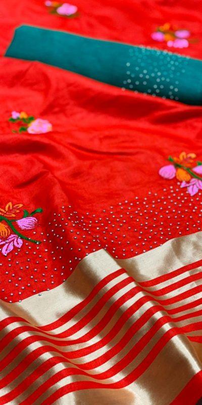 harmonious-red-color-sana-silk-festival-wear-traditional-saree