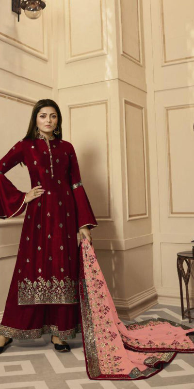 inspiring-maroon-color-rangoli-satin-with-embroidery-stone-work-plazo-suit