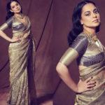 kangana-ranaut-in-mehendi-color-pure-organza-fancy-rich-thread-work-saree