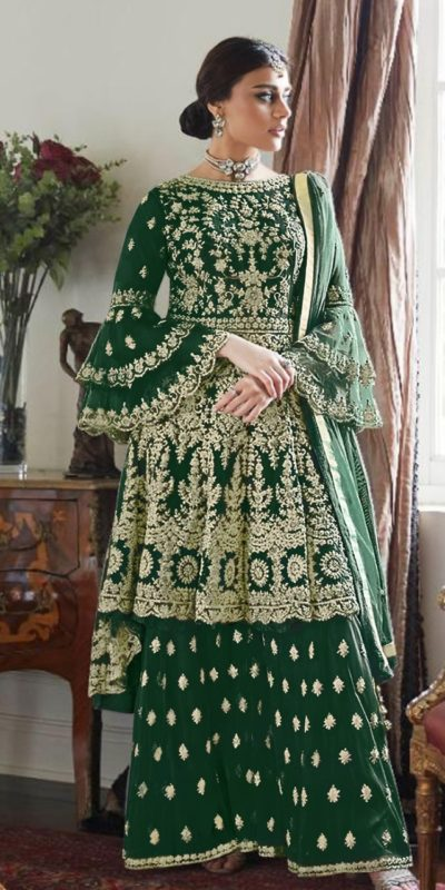 magnificent-green-color-butterfly-net-with-heavy-codding-wedding-wear-plazo-suit