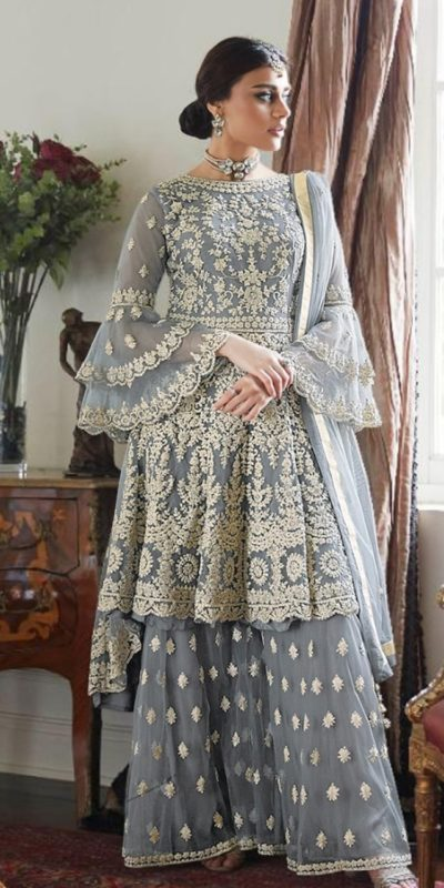 magnificent-grey-color-butterfly-net-with-heavy-codding-wedding-wear-plazo-suit