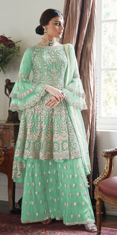 magnificent-mint-color-butterfly-net-with-heavy-codding-wedding-wear-plazo-suit