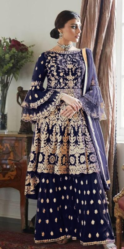 magnificent-navy-blue-color-butterfly-net-with-heavy-codding-wedding-wear-plazo-suit