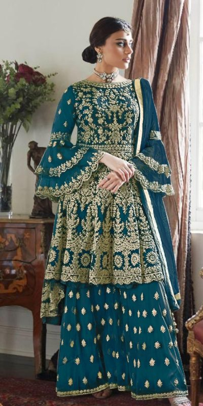magnificent-peacock-blue-color-butterfly-net-with-heavy-codding-wedding-wear-plazo-suit