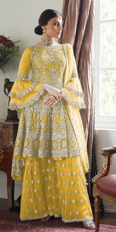 magnificent-yellow-color-butterfly-net-with-heavy-codding-wedding-wear-plazo-suit