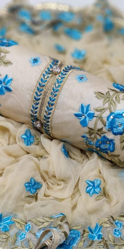 mesmerizing-cream-blue-colored-embroidered-chanderi-silk-dress-material