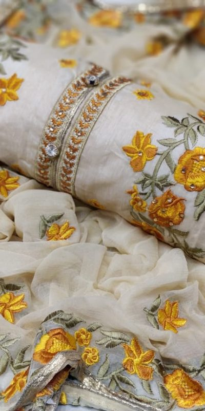 mesmerizing-cream-yellow-colored-embroidered-chanderi-silk-dress-material