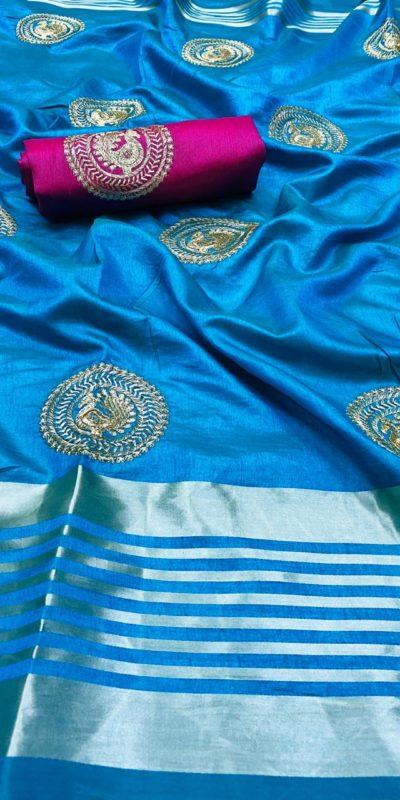 perfect-seagreen-color-pure-rich-cotton-silk-traditional-wear-classic-saree
