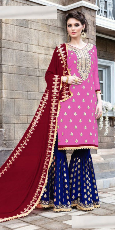 pink-blue-color-stylish-gota-patti-pattern-sharara-salwar-suit-with-heavy-work